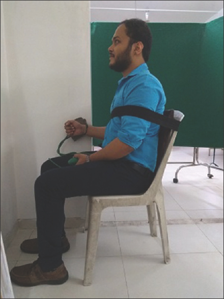 Figure 5: External rotator testing with sphygmomanometer